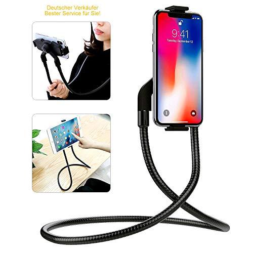 PLEIONE Handy Halterung Hals Tablet Halter, Biegsam Universal Schwanenhals Nackenhalter original, Magnetisch aufsetzbar und drehbar zu 360 Grad, kompatibel für alle Geräte