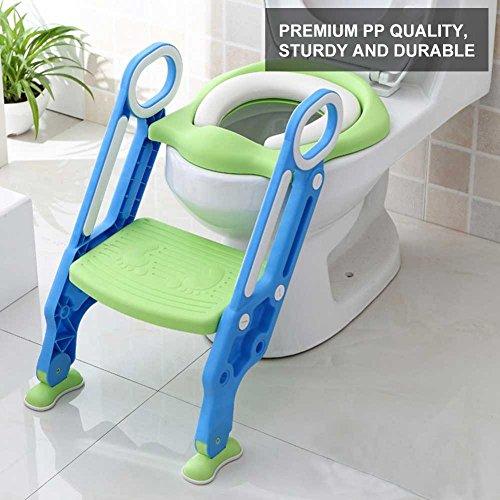 Riduttore WC per Bambini con Scaletta, Sedile da toilette Vasino, Pieghevole Kit Toilette Trainer Step Up con Cuscino Tenero(blu)