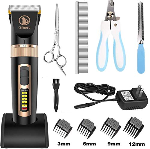 Ceenwes Dog Clippers Heavy Duty Low Noise Rechargeable Cordless Pet Clippers Professional Dog Grooming Clippers with Power Status Dog Grooming Kit with 11 Tools for Dogs Cats Other Animals