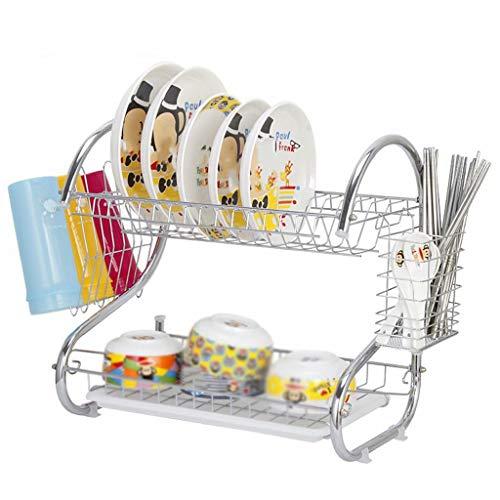 Rejilla para platos, rejilla para secar platos de acero inoxidable con escurridor para utensilios, soporte para tabla de cortar, escurridor de platos a prueba de óxido, 39 cm × 24,5 cm × 37 cm, chapad