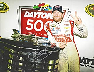 AUTOGRAPHED 2014 Dale Earnhardt Jr. #88 National Guard Racing DAYTONA 500 RACE WINNER (Harley J. Earl Trophy) Hendrick Motorsports Signed Collectible Picture NASCAR 9X11 Inch Glossy Photo with COA