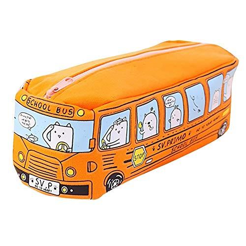 Xiton 1 PC créatif bande dessinée animal crayon Pouch école Crayon Autobus cas unisexe sac en toile Pen étudiants Rangement Sac cadeau parfait pour les enfants (Orange)