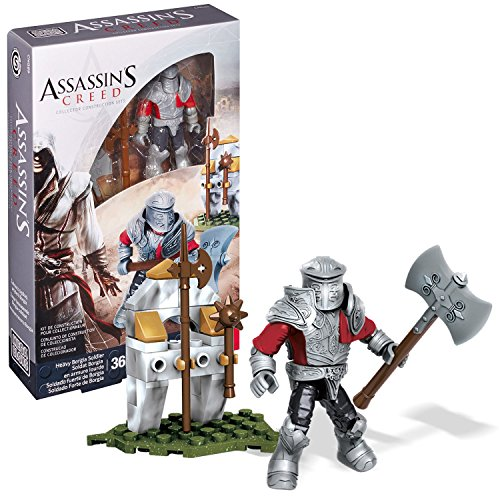 Year 2015 Mega Blok Assassins Creed Series Micro Figure CNG89 - Heavy BORGIA Soldier with Detachable Armor, Halberd, Battle Axe, Morning Star and Weapon Rack