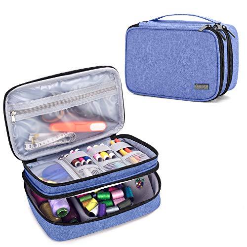 Luxja Organizador de Tejer Bolsa para Accesorios de Coser como Agujas Tijeras Hilos (No incluido accesorios), azul oscuro