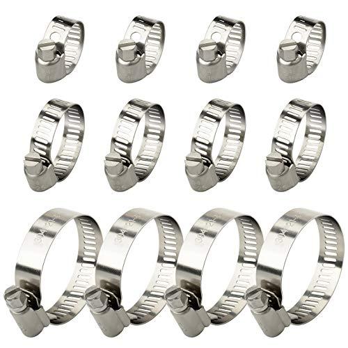 Astarye Tuyau Clips Réglable Colliers de Serrage Assortiment de 3 tailles 12 pièces(10-16 mm,16-25mm,21-44mm)