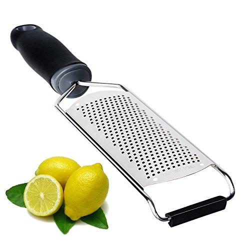 Râpe Zesteur pour Fromage Citron Gingembre Ail Muscade Chocolat Légumes Fruits Acier Inoxydable Lame Noir Poignée Ergonomique