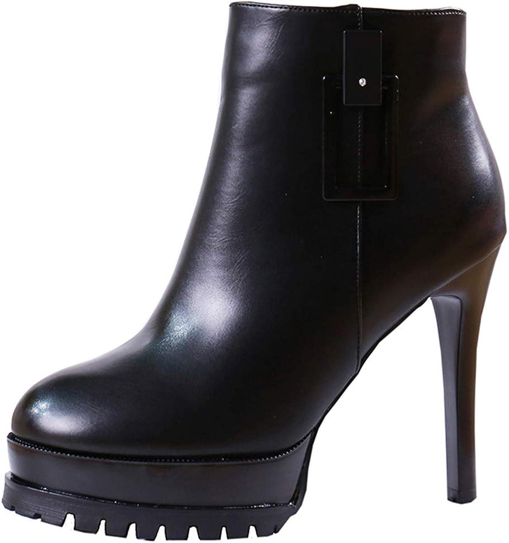 LBTSQ-Trendy Wasserdichte Plattform Martin Stiefel 11Cm Kurze Stiefel Runden Kopf Dünnen Absätzen Schuhe Mit Hohen Absätzen.  | Für Ihre Wahl