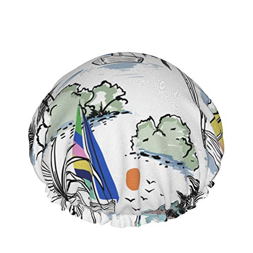 Gorro de ducha de doble capa,Verano Colorido Hermoso Barco Windsurf Con Palmeras Playa Océano,Gorros de baño elásticos impermeables reutilizables para todas las longitudes de cabello