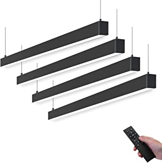 Barrina LED Linear Light with Remote Control, 45w 4ft, Linkable, Stepless Dimmable, Color Changing, 3000k 4000k 6000k, Suspended LED Shop Light Channel Light for Office Ceiling