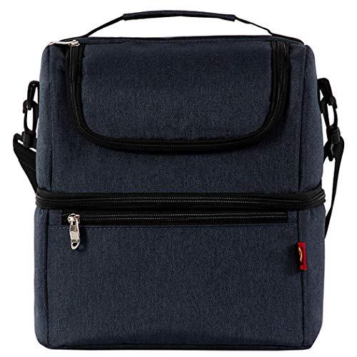 Lunch Bag Multifunctionele Dubbele Decker Geïsoleerde Picknick Schoudertas Picknick Bag Donkerblauw