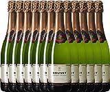 VINELLO 12er Weinpaket Schaumwein - Crémant Brut Blanc Excellence - Bouvet Ladubay mit Weinausgießer | prickelnder Crémant | französischer Schaumwein aus Val de Loire | 12 x 0,75 Liter