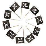 non-brand 50x Kuchen Topper Cupcake Picks Tortenaufsatz Muffin Zahnstocher mit Pirat Flagge Form für Kindergeburtstag & Taufe - Schädel