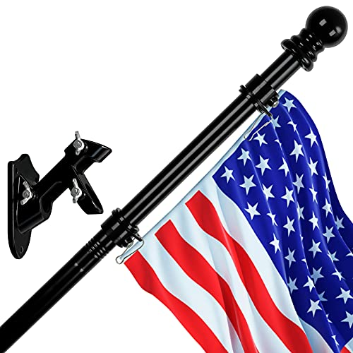 Bird Twig Flag Pole with Bracket and American Flag, 6 FT Flagpole Kit, Stainless Steel Professional Black Flag Pole for House Garden Yard, Residential or Commercial Flag Pole