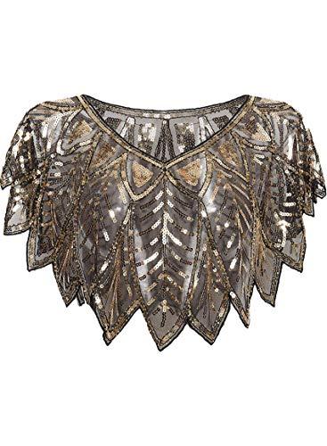 keland 1920er Jahre Damen Schal Pailletten Perlen Abendkap Zucken Blumen Deko-Wraps(D-Schwarzes Gold)