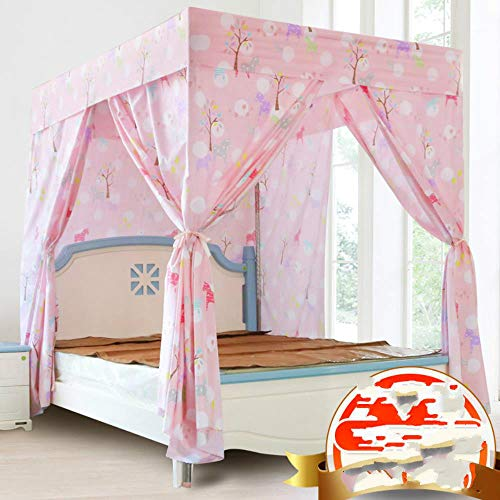 Xiaoer Household Shielding Curtains Adult Bedroom Bed Mantle Bed Around 1.5m Meters Warm Nets Unitary Block Thickened Fabric Bednets,Trojan Powder - Containing Scaffold,2.0m (6.6 Feet) Bed