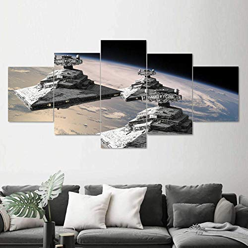 CINRYTN Canvas Art Wall Decor 5 Piece Epic Imperial Star Destroyer Art Decor Canvas Prints Wall Art Abstract Home Decor Artwork for Home Walls