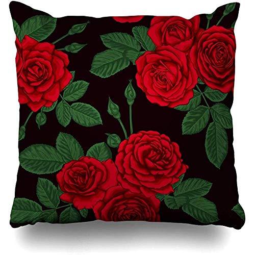 Fundas de cojín Fundas de decoración Patrón rojo rosa Ramos vintage Rosas Pintura Naturaleza Acuarela Floración negra Flor Brillante Diseño Funda de almohada para el hogar Funda de cojín con cremaller