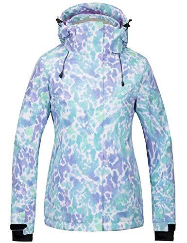 Wantdo Damen Wasserdichte Skijacke bunt bedruckt Regenmantel Winterparka -  -  X-Groß