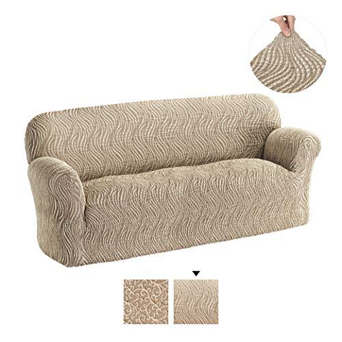 PAULATO by GA.I.CO. Funda para sofá de 3 plazas, funda de tela de algodón para muebles de 1 plaza, con diseño de jacquard 3D, color beige