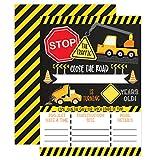 Construction Boy Birthday Invitations, Dump Truck Party Invites, 20 invitations and envelopes