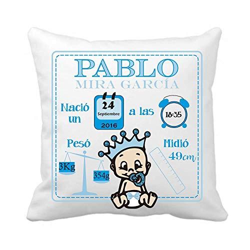 Kembilove Cojín Natalicio Recién Nacido - Cojines Natalicios Personalizados con los Datos del Bebe - Regalo original recién nacidos - Cojín personalizado para bebe
