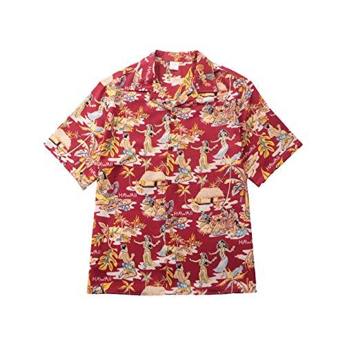 Camicia a Maniche Corte da Uomo Primavera Tendenza Europea e Americana Street personalità Hawaiana Stampa Camicia con Risvolto a Maniche Corte Sciolta L