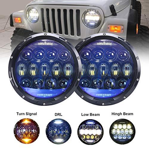 130W Exclusive Blue Projector Lens 7 inch LED Headlights Amber Turn Signal/DRL Bulbs Kits Compatible with Jeep Wrangler JK LJ JKU TJ CJ Sahara Rubicon Freedom Dragon Edition Unlimited Headlamps