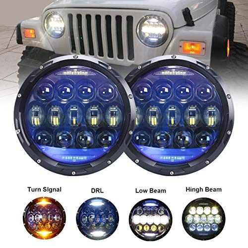 130W Exclusive Blue Projector Lens 7 inch LED Headlights Amber Turn Signal/DRL Bulbs Kit Compatible with Jeep Wrangler JK LJ JKU TJ CJ Sahara Rubicon Freedom Dragon Edition Unlimited Headlamps