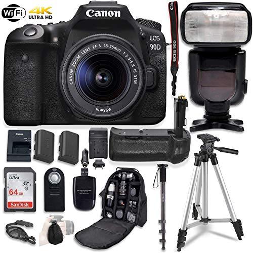 Canon EOS 90D Digital SLR Camera & 18-55mm STM Lens Bundle with Battery Grip & Professional Accessory Bundle (16 Items)