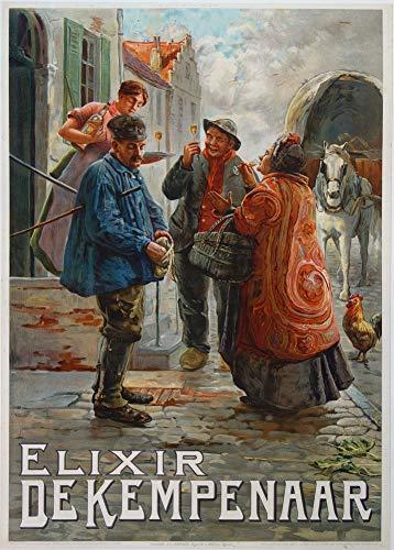 Vintage bieren, wijnen en sterke drank 'Elixir De Kempenaar', België, 1900's, 250gsm Zacht-Satijn Laagglans Reproductie A3 Poster