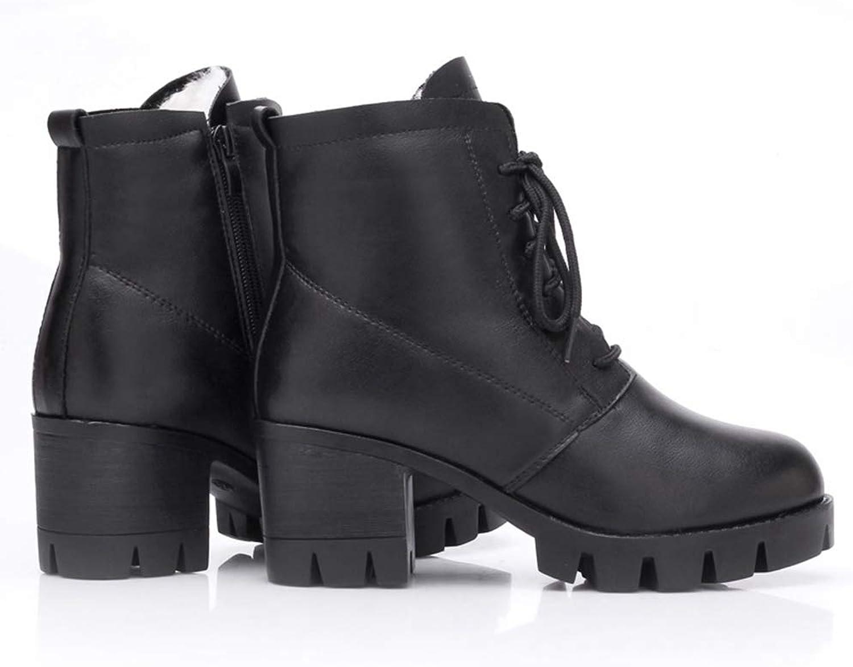 SANOMY Winter Leather Ankle Snow Boots for Women Platform Chunky Heels Warm Fur Chelsea Booties, Waterproof
