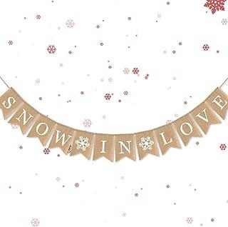 7-gost Jute Burlap Snow in Love Banner Winter Wedding Shower Bridal Shower Garland Decoration