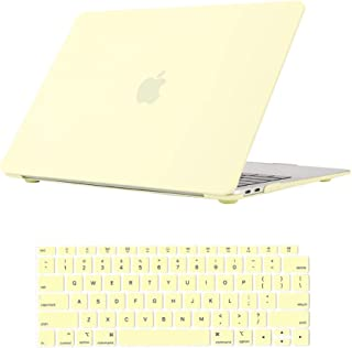 Se7enline New MacBook Air 13 Inch Case 2018/2019 Smooth Matte Frosted Plastic Hard Shell Case Cover for MacBook Air 13-Inch with Retina Touch ID Version Model A1932 with Keyboard Cover, Mellow Yellow