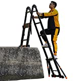Telescopic Tall Ladder with Stabiliser Bar and Hinge, Multi-Purpose Heavy Duty Folding Extension