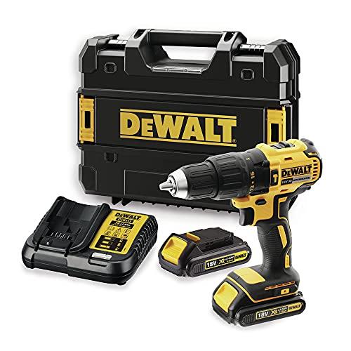 DEWALT DCD778S2T-QW - Taladro Percutor sin escobillas XR 18V, 13mm, 65Nm, incluye 2 baterías Li-Ion (1.5Ah) y maletín