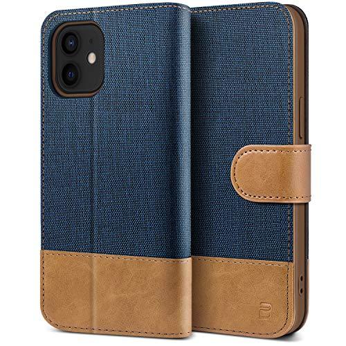 BEZ Handyhülle für iPhone 12 Mini Hülle, Tasche Kompatibel für iPhone 12 Mini, Schutzhüllen aus Klappetui mit Kreditkartenhaltern, Ständer, Magnetverschluss, Blaue Marine