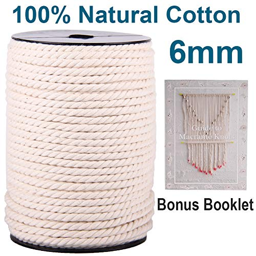 XKDOUS Macrame Cord 6mm x 75Yards, Natural Cotton Macrame Cotton Rope, 3 Strand Twisted Cotton Cord for Wall Hanging, Plant Hangers, Macrame Supplies, Crafts, Pet Toys, Soft Undyed Craft Cord
