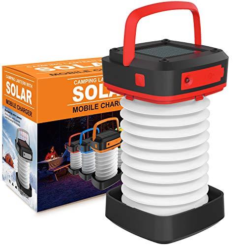 LED-Camping-Laterne, Taschenlampe, Solar-Mini-Taschenlampe, Nachtlicht, wiederaufladbar, tragbar, mit USB-Ladegerät als Powerbank für Wandern, Zelt, Garten, Terrasse, Notfälle, zusammenklappbar… (Rot)