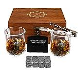 Baban Extrême Pierre à Whisky Set - avec 8pcs Pierre à Whisky, 2pcs Verres à Whisky, Sac en Velours et Pince Choix Parfait pour Le Dégustation de vins et Les Cadeaux