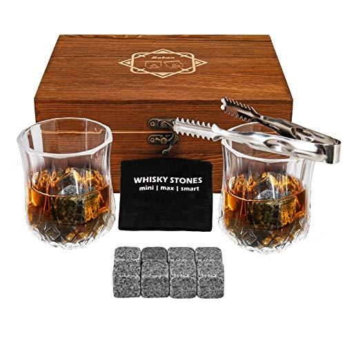 Baban Bicchieri di Whisky Set - Whisky Stones 8 PCS & Bicchieri Whisky 2 PCS, Pinze & Borsa Ghiaccio - Regalo Boutique per Gli Amanti del Whisky