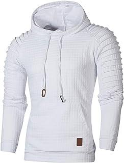 NPRADLA Camicia da Uomo con Cappuccio in Felpa con Cappuccio a Quadri a Maniche Lunghe Autunnale a Maniche Lunghe