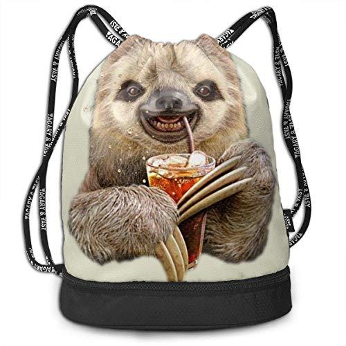 PmseK Turnbeutel Sportbeutel Kordelzug Rucksack, Cute Sloth with Juice Draw String Backpack Bags Shoulder Cinch Storage Bag for Traveling Hiking