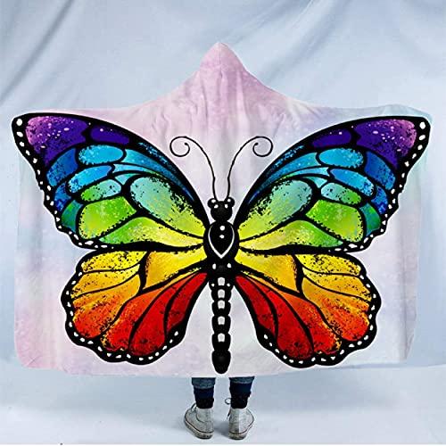 Manta con capucha de mariposa para adultos, manta de forro polar sherpa, cálida y suave, para viajes, camping, picnic, aire acondicionado, rodilla, 200 x 150 cm