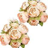 Nubry 2 Piezas Artificial Peonía Seda Flores Bouquet para Boda Inicio Jardín Fiesta Decoración (Champán de Primavera)