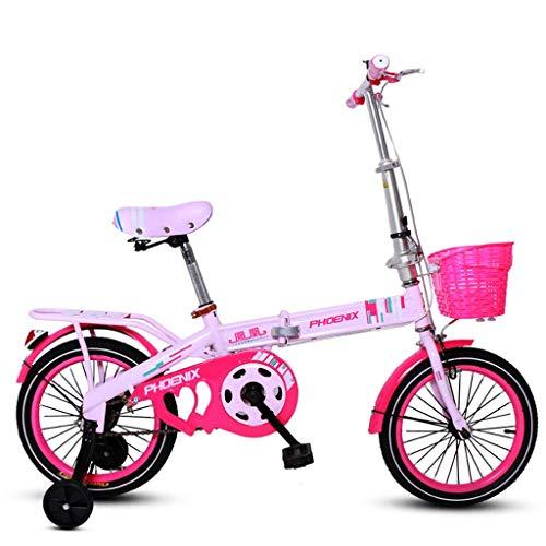 ZHANGZZ Niños Chicos en Bicicleta Bicicleta, Bicicleta Plegable for niños de 16 Pulgadas niños y niñas Bicicleta Bicicletas 6-10 años de Edad, Ciclismo Rosa de los niños Bicicleta para niños