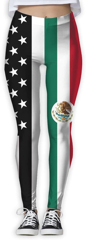 Mexican America Flag Women Power Flex Running Yoga Pants Workout Tights Leggings Trouser