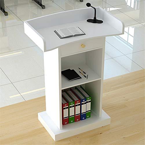 ZzheHou Rednerpult Podium Moderator Ceremonial Pult Schreibtisch Empfang Customer Desk for Unternehmen Campus (Color : White, Size : with Drawer)