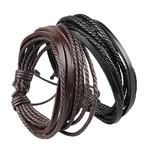 Coolla puños Ajustables de Color Negro y Pulsera de Piel de Color marrón y Cuerda Pulsera, 18cm, 2Unidades