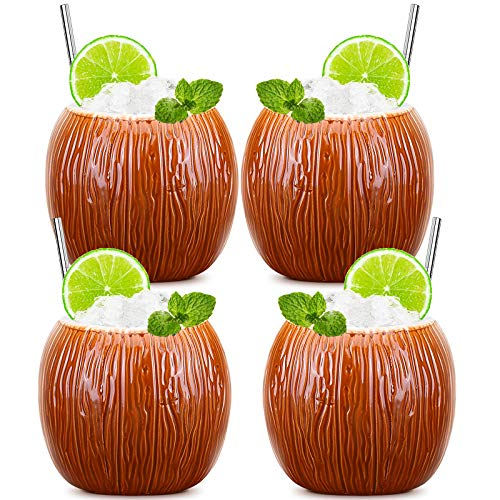 Tiki Mugs Ceramic Coconut Shape Cups Set of 4 Hawaii Tropical Creative Designs Cute Cocktail Glasses Brown Cups and Mugs Collections Holiday Beach Party Drinks Fun Decoration Gifts (520ml/17oz)