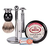 RoyalShave Muhle R89 Twist Safety Razor + Omega Shaving Cream Kit- Gift Set with Safety Razor, Shaving Brush, Chrome Stand, Shaving Cream, and Blades